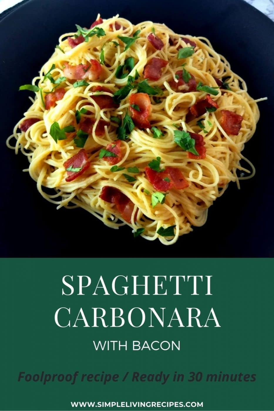 Spaghetti Carbonara with bacon Pin for Pinterest