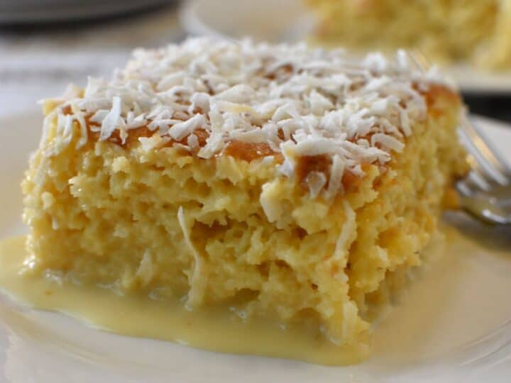 vanilla cake moistened with condensed milk, evaporated milk and coconut milk