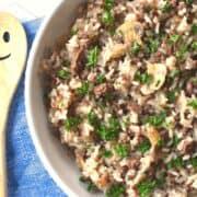 arroz com carne moída em uma só panela