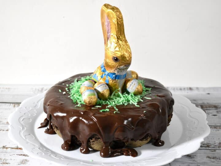 chocolate cake covered with chocolate soft fudge with a bunny and chocolate eggs on topp