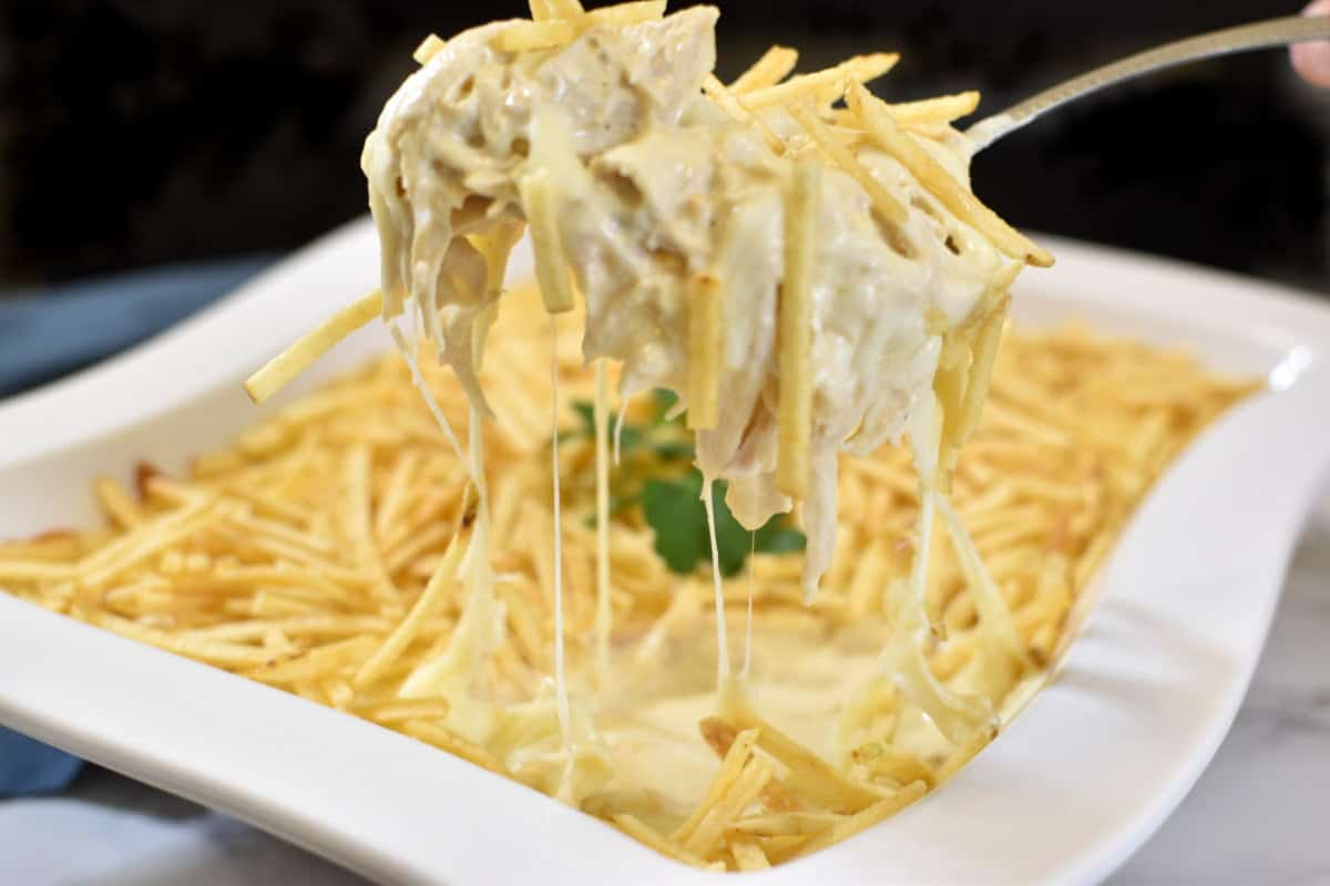 Shredded chicken with creamy sauce, topped with cheese and potato sticks