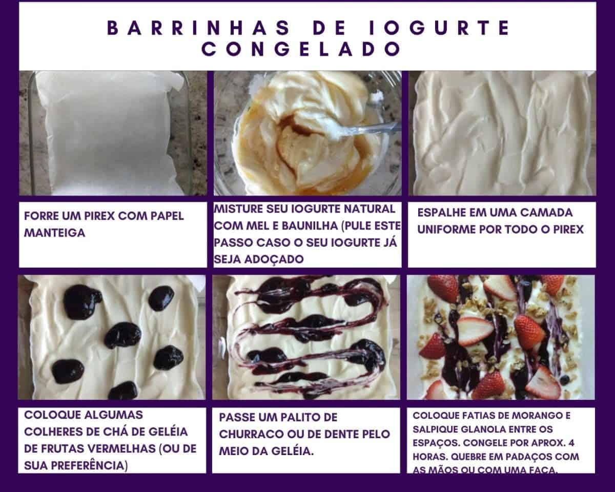 Passo a passo para barras de iogurte congelado com morangos, geleias de frutas vermelhas e granola