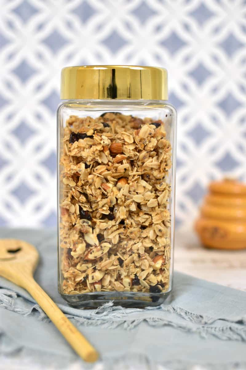 Healthy homemade Granola in a glass jar