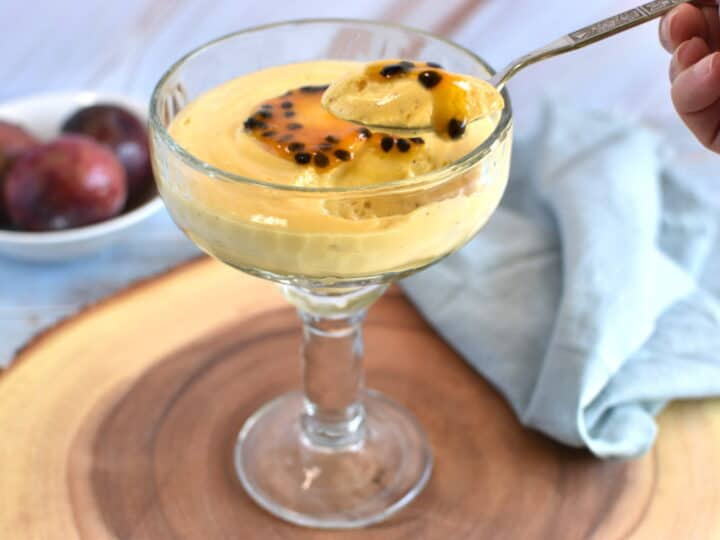 Passion Fruit Mousse with passion fruit syrup