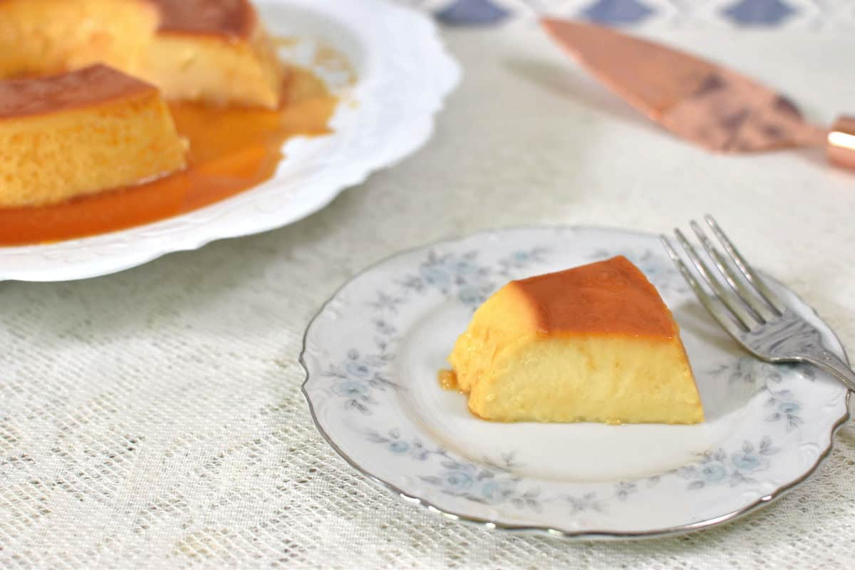 Brazilian Style Flan piece on a plate