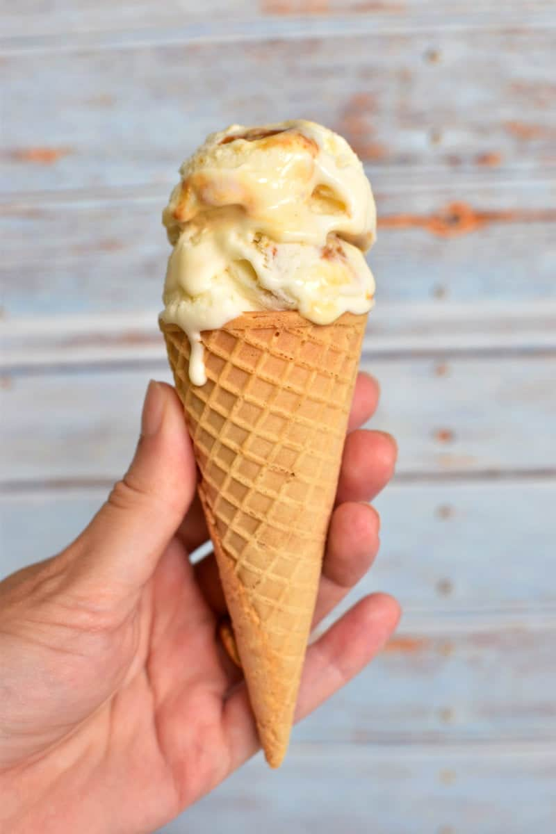 Coconut dulce de leche ice cream on a cone