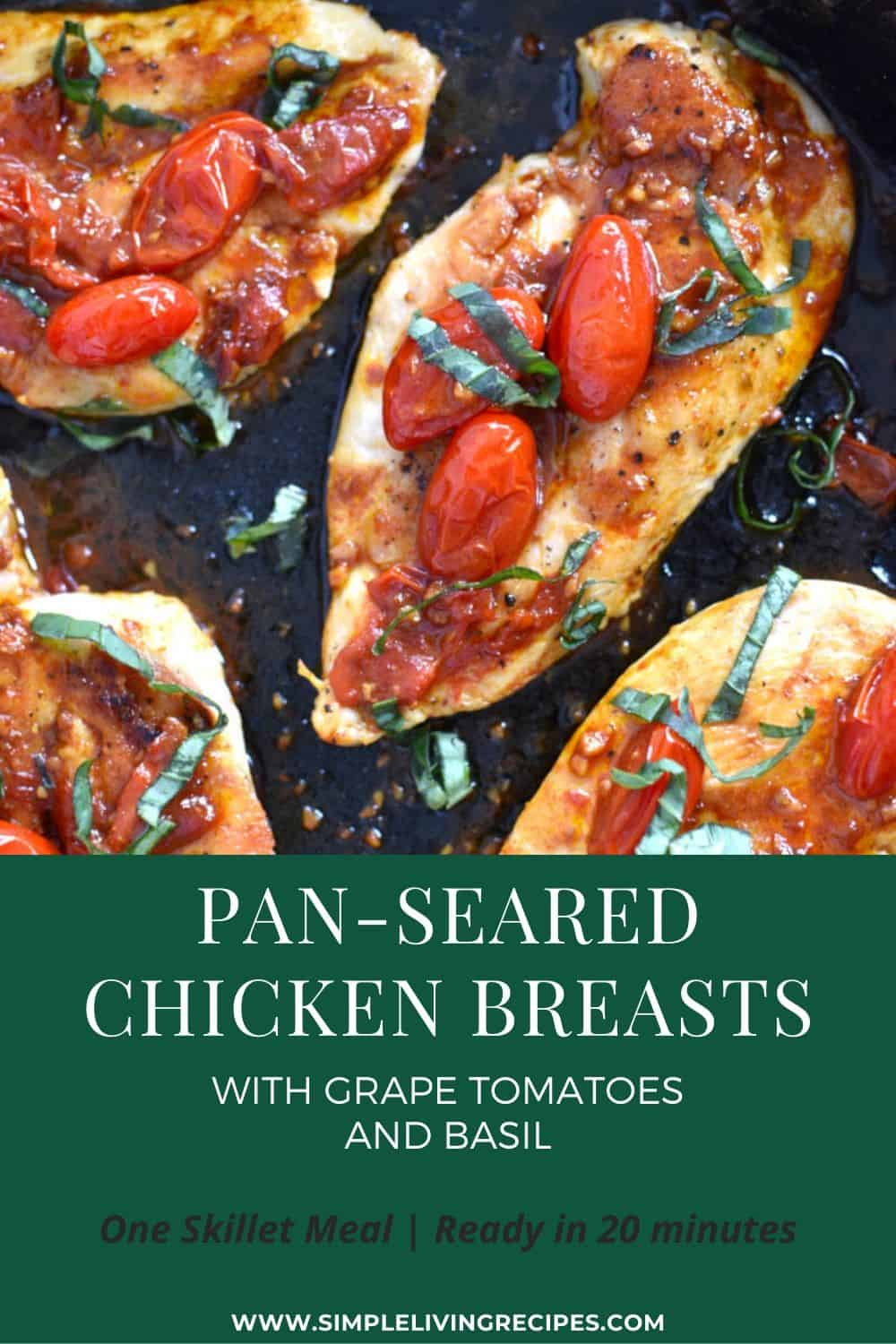 Pan-seared chicken breasts with tomatoes and basil Pinterest Pin
