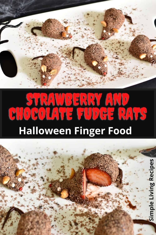 Strawberry and chocolate fudge rats (Halloween dessert) Pinterest Pin
