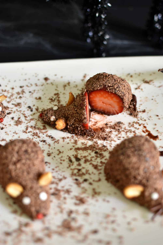 Strawberry and chocolate fudge rat cut in half (Halloween dessert)