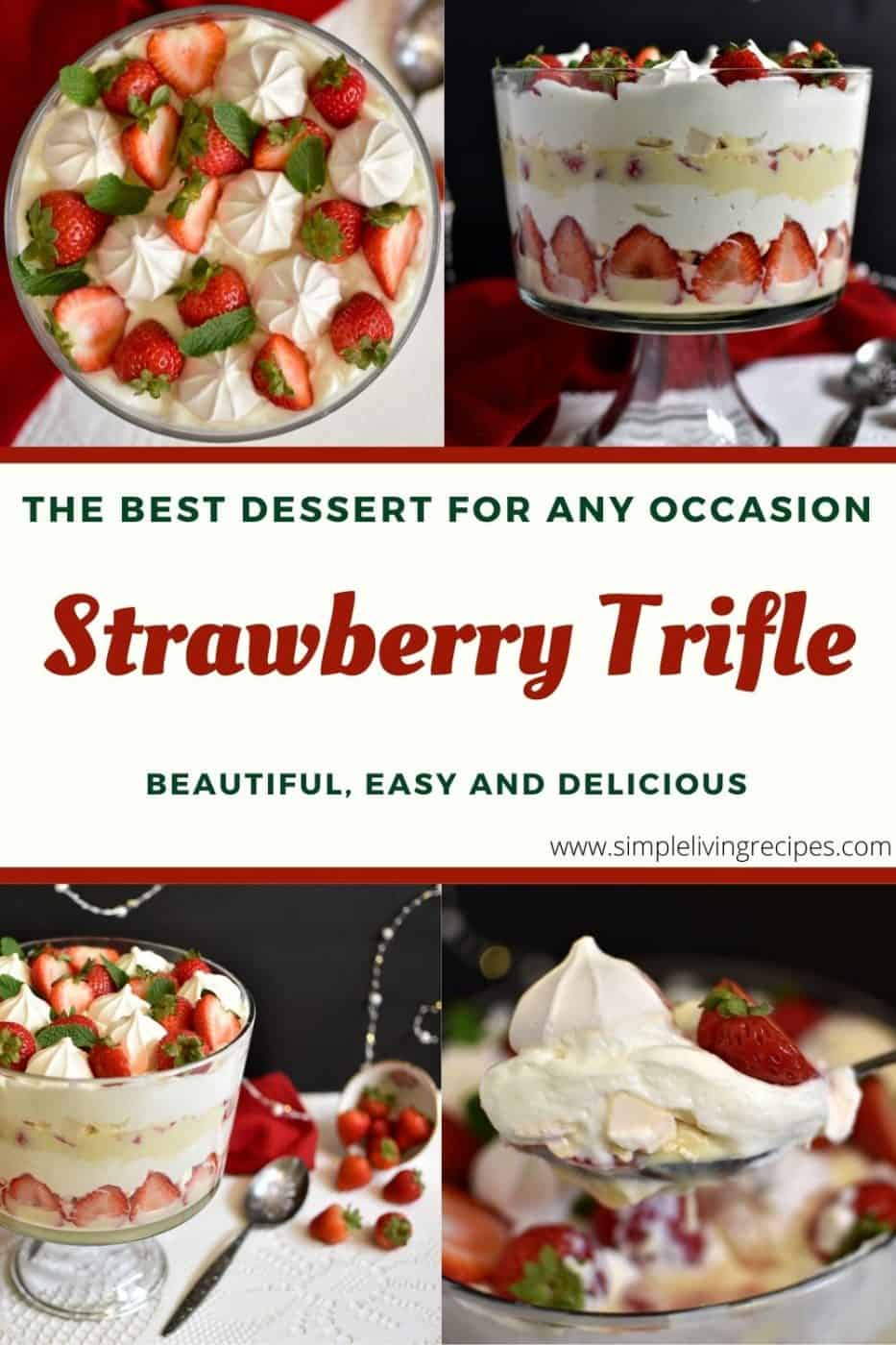 Pinterest Pin for the strawberry trifle