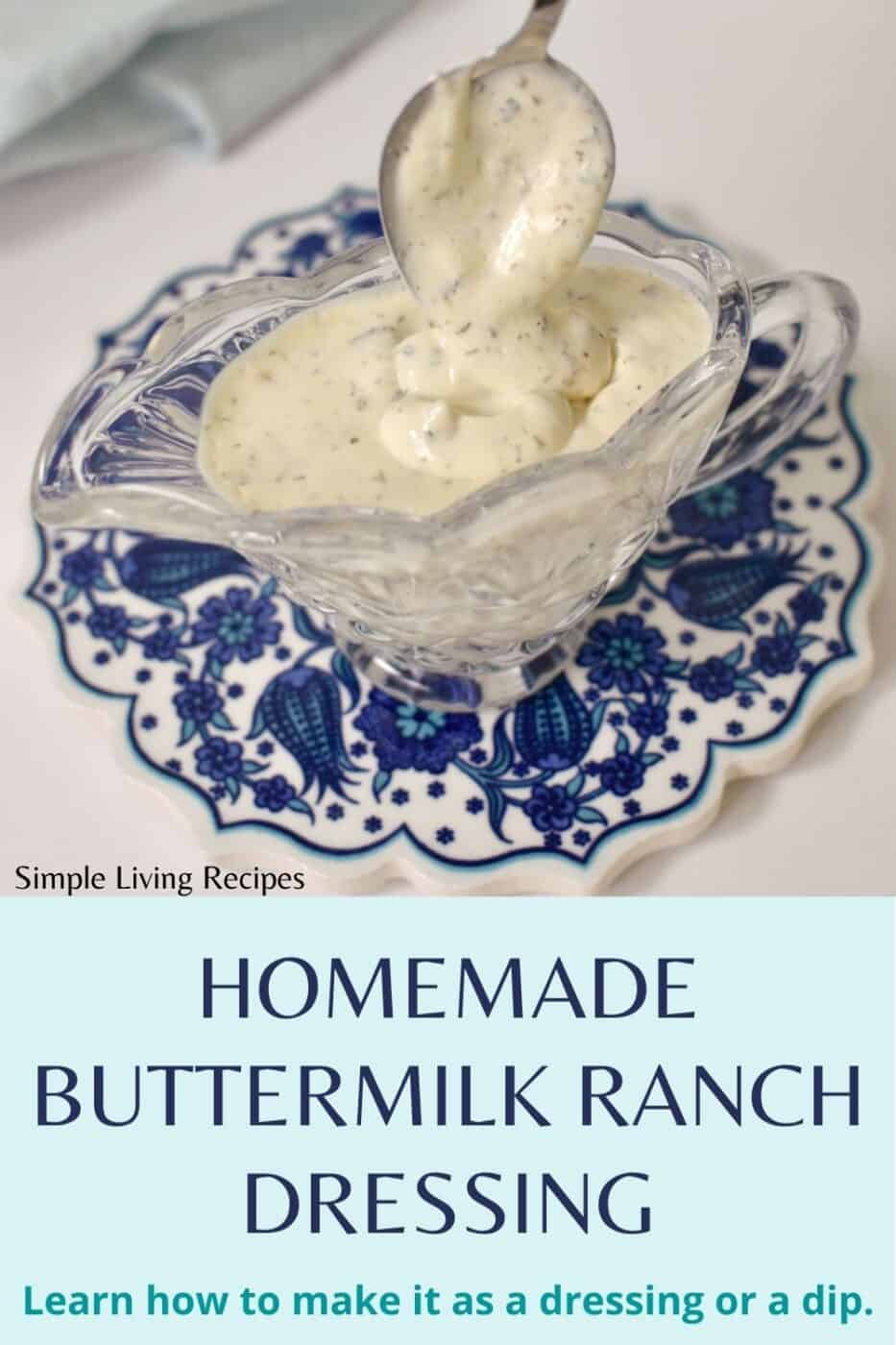 Homamede Buttermilk Ranch dressing in a sauce boat with a spoon