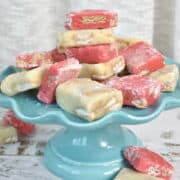 Lemon and strawberry fudges on a blue tray